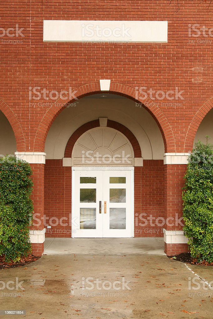 Portico, Red Brick, White Door royalty-free stock photo