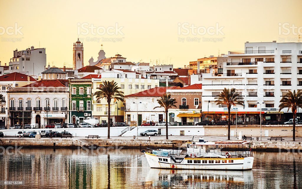Portimao sunset, Algarve, Portugal. stock photo