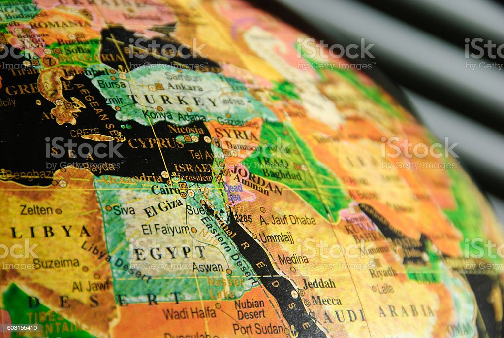 Portion of a Colorful Globe Showing the Middle East stock photo