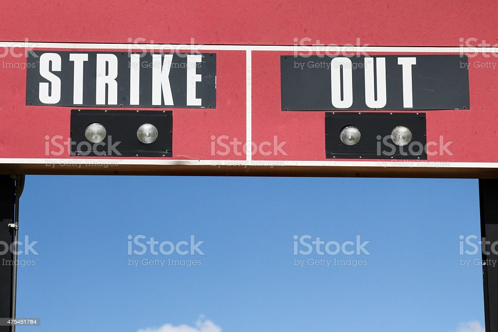 Portion of a red baseball scoreboard that says 'Strike Out' stock photo