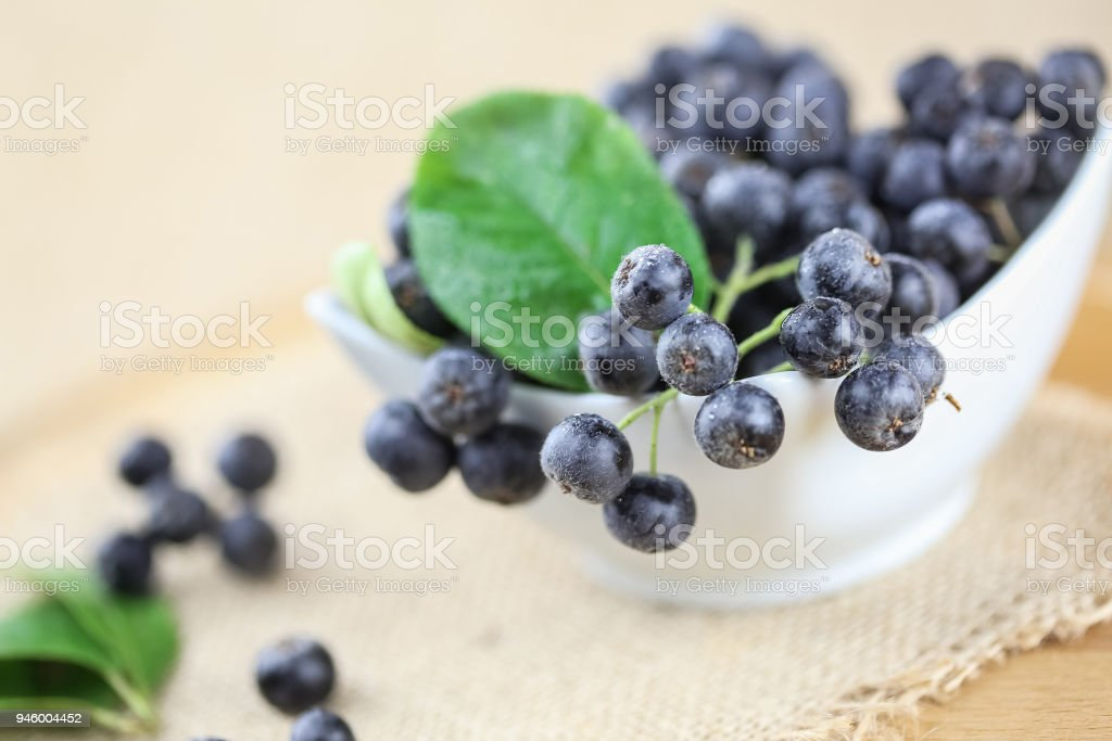 Portion of Aronia Berries stock photo