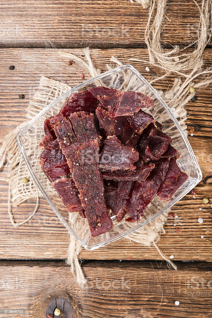 Portion of Beef Jerky stock photo