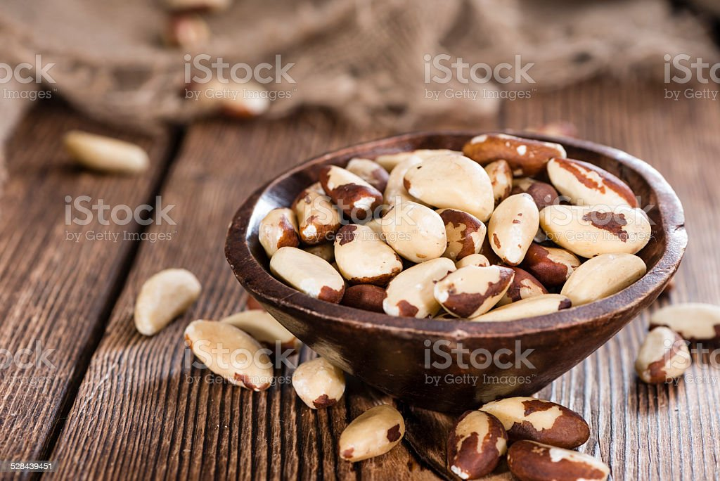 Portion of Brazil Nuts stock photo