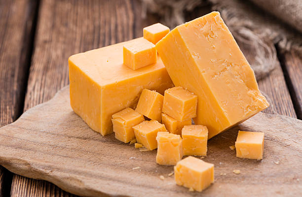 Portion of Cheddar stock photo