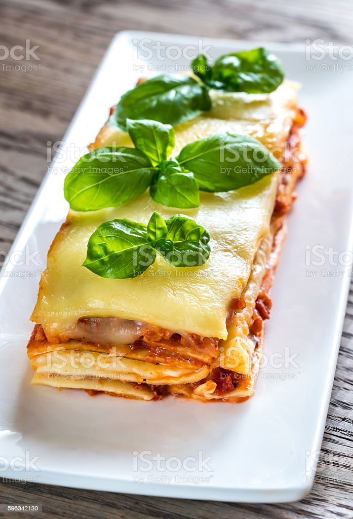 Portion of classic lasagne Lizenzfreies stock-foto