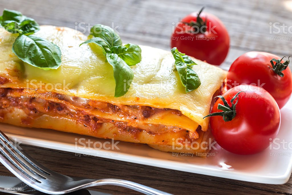 Portion of classic lasagne royalty-free stock photo