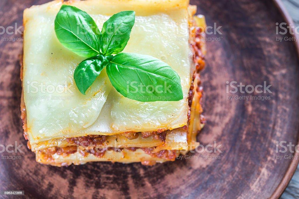 Portion of classic lasagne Lizenzfreies stock-foto