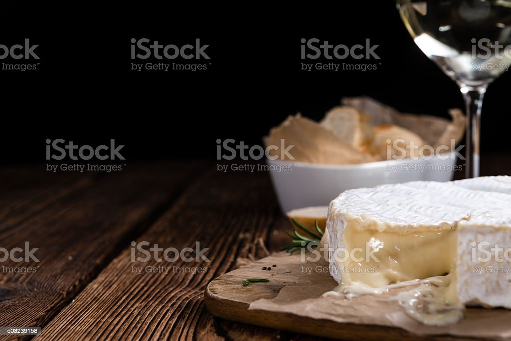 Portion of creamy Camembert stock photo
