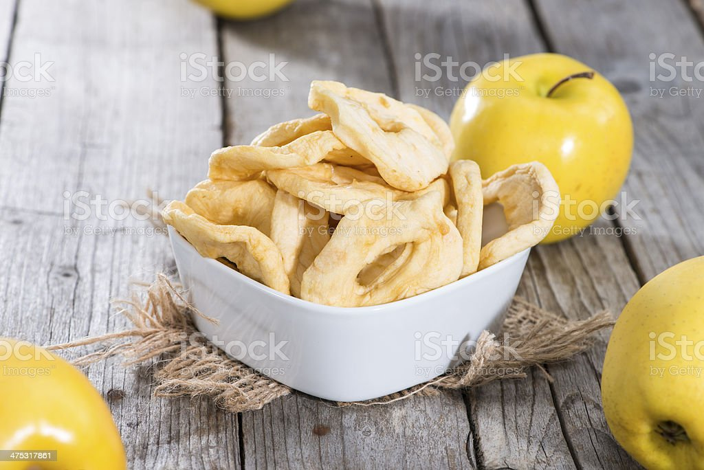 Portion of dried Apples stock photo