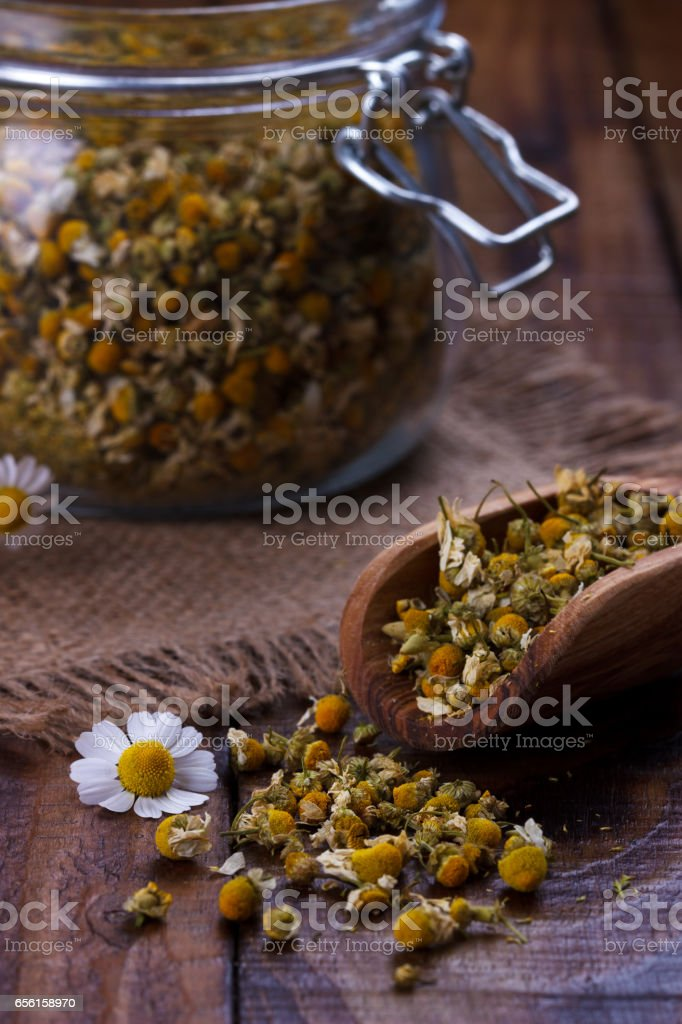 Portion of dried Chamomile stock photo
