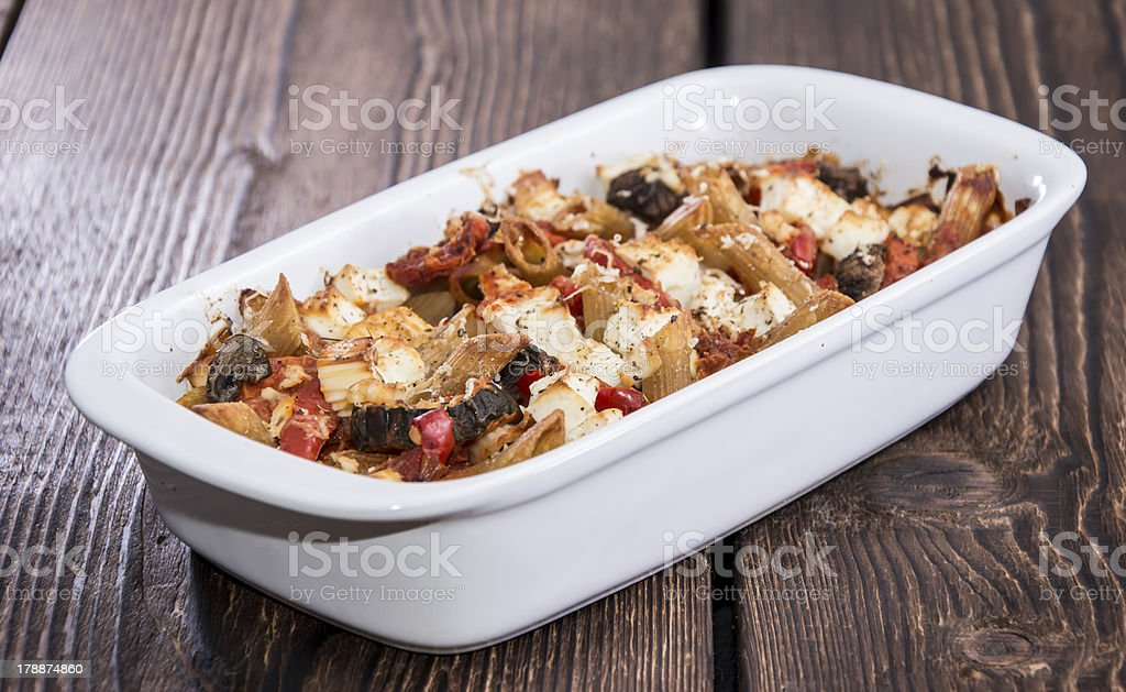 Portion of fresh made Pasta Bake royalty-free stock photo