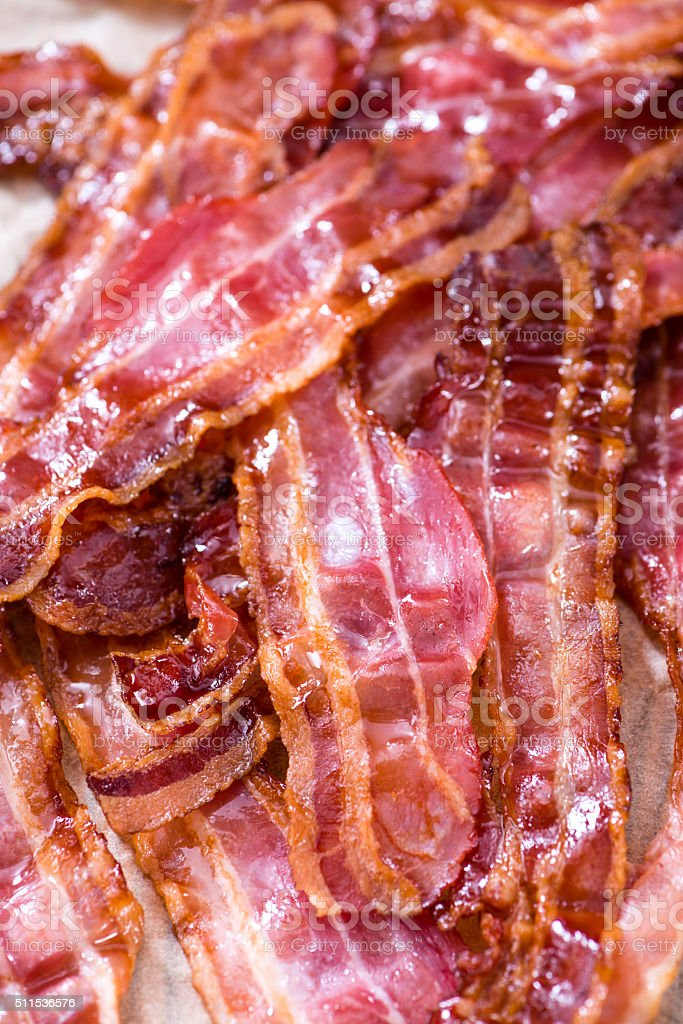 Portion of fried Bacon stock photo