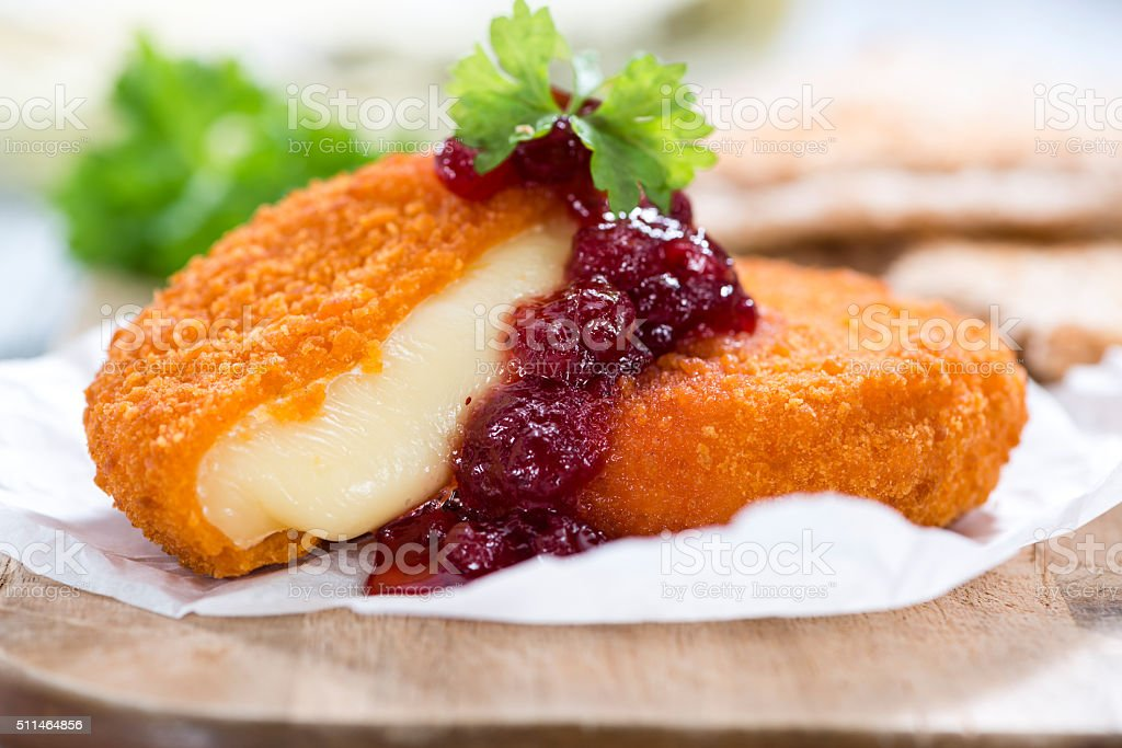 Portion of fried Camembert stock photo