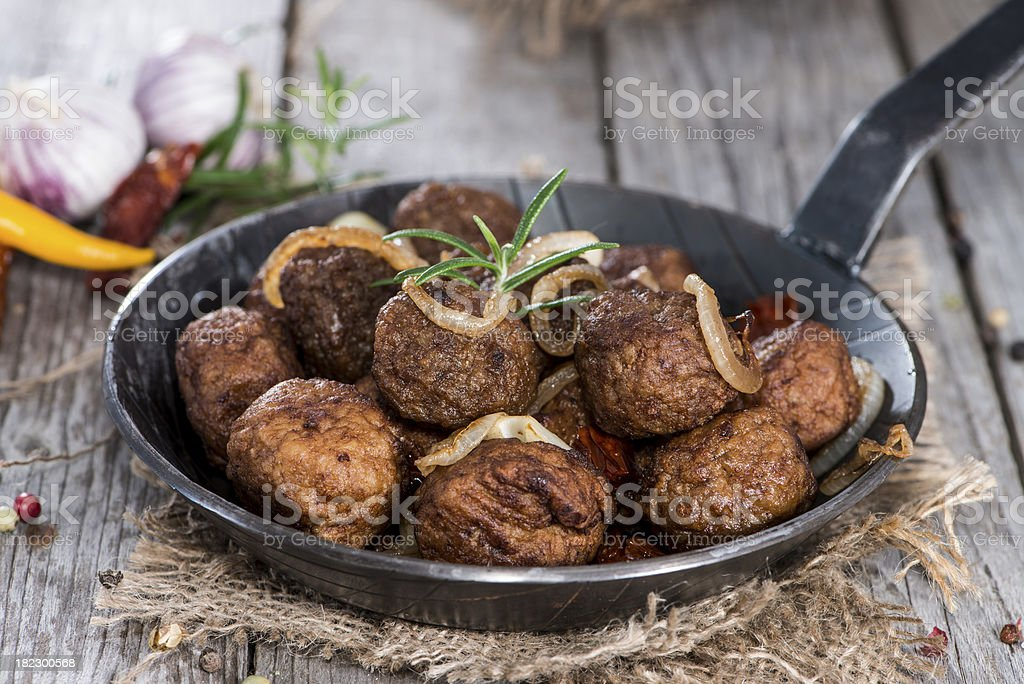 Portion of homemade Matballs in a pan stock photo