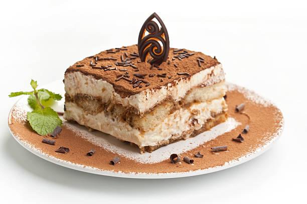 Portion of italian tiramissu cake stock photo