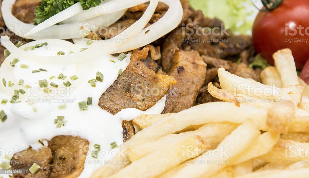 Portion of Kebab meat (macro shot) royalty-free stock photo