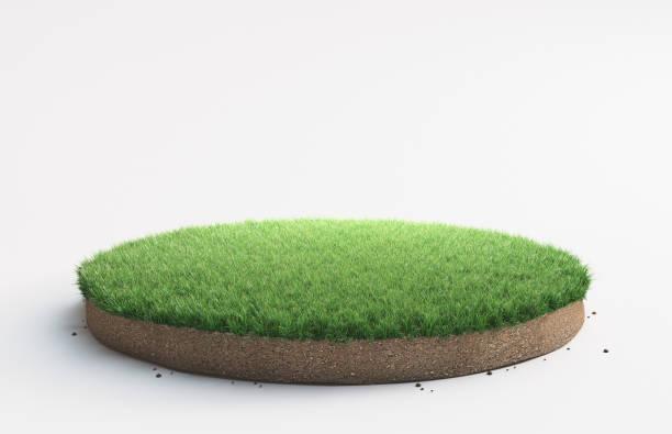 porção de terra com grama - gramado terra cultivada - fotografias e filmes do acervo