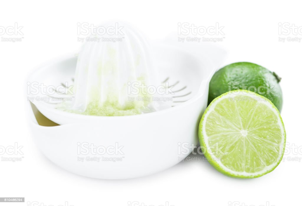 Portion of Lime Juice isolated on white stock photo
