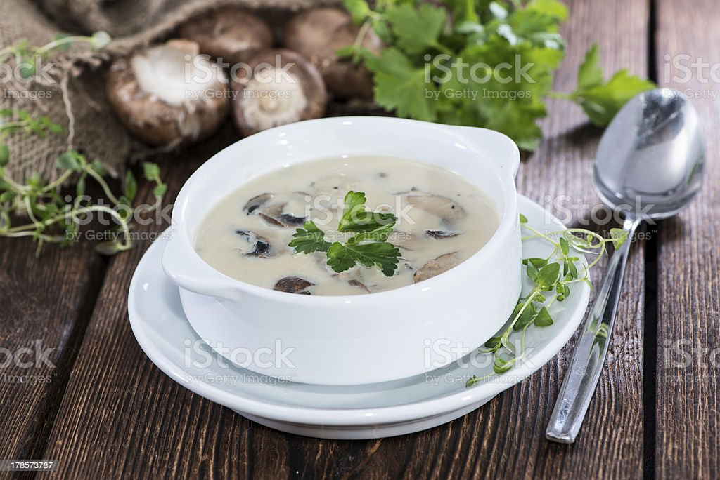 Portion of Mushroom Soup stock photo