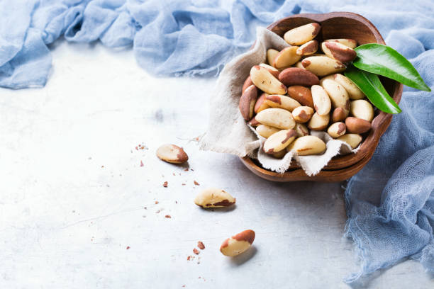 Portion of organic healthy brazil nuts stock photo