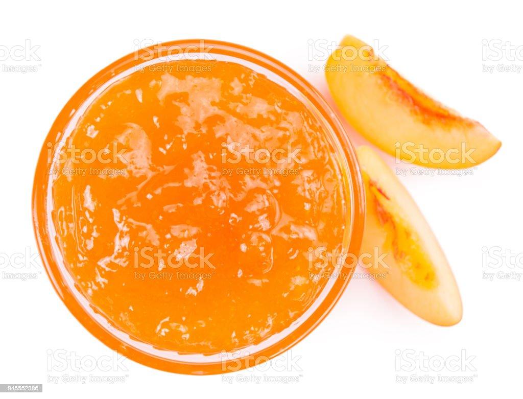 Portion of Peach Jam on a slate slab stock photo