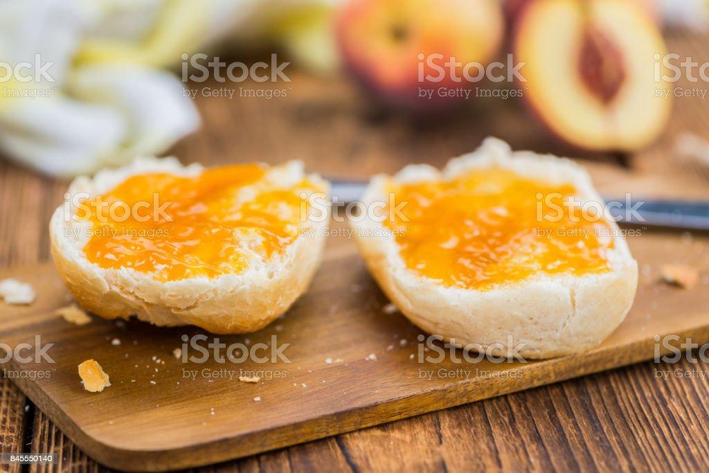 Portion of Peach Jam, selective focus stock photo