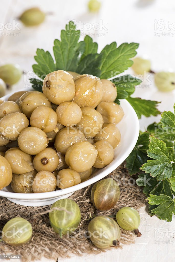 Portion of preserved Gooseberries royalty-free stock photo