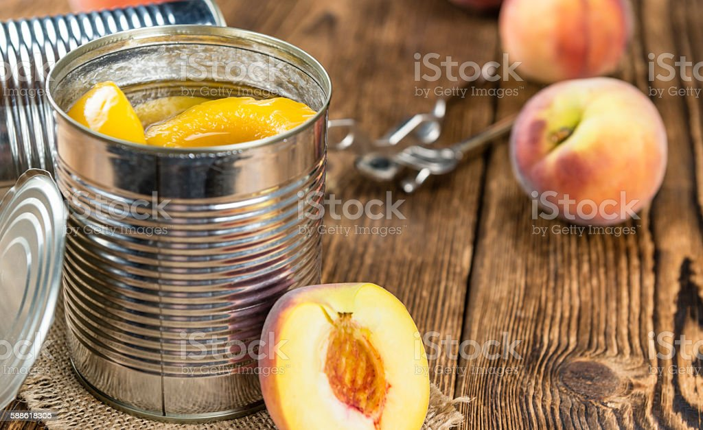 Portion of preserved Peaches stock photo