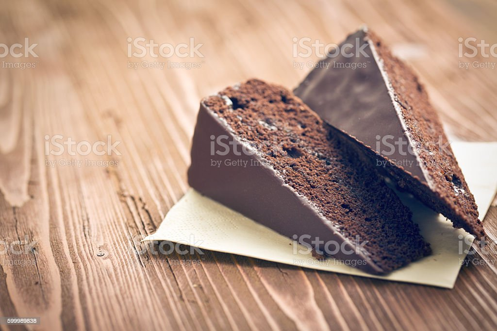 portion of sacher cake stock photo