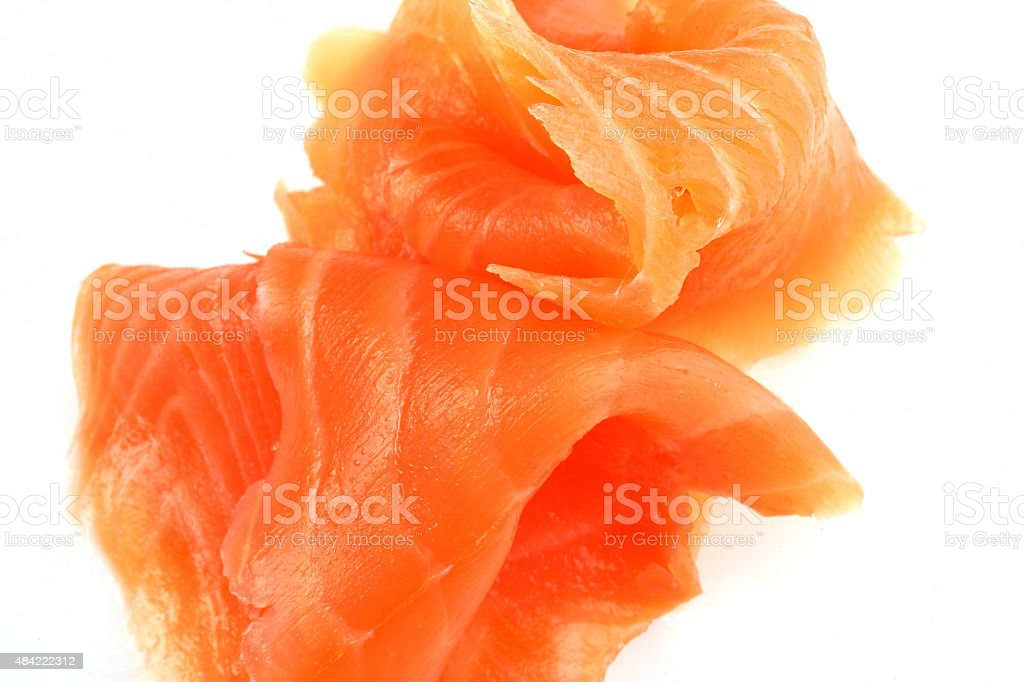 Portion of Sliced Cured Smoked Salmon Fish stock photo