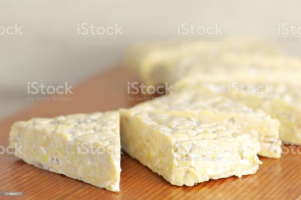 Portion of Tempeh Cut for Cooking stock photo