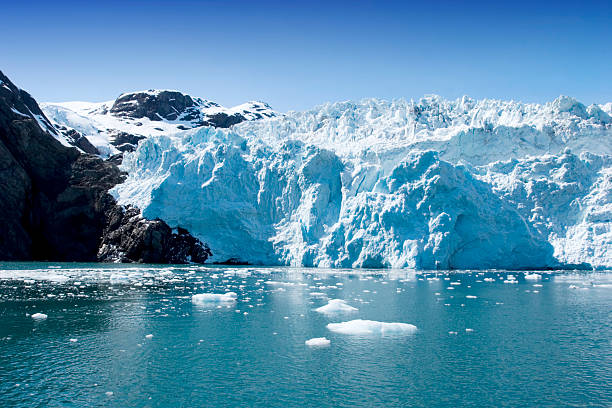 Portion of the Hubbard Glacier in Alaska and Yukon Hubbard Glacier in Seward, Alaska glacier stock pictures, royalty-free photos & images