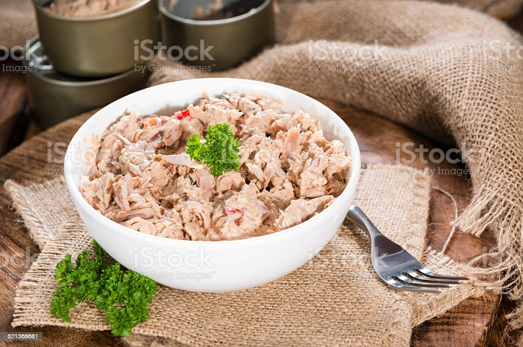 Portion of Tuna salad stock photo