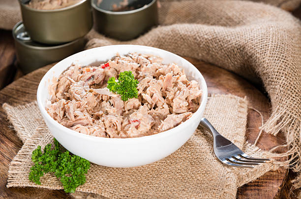 Portion of Tuna salad Portion of Tuna salad in a small bowl (close-up shot) tuna animal stock pictures, royalty-free photos & images