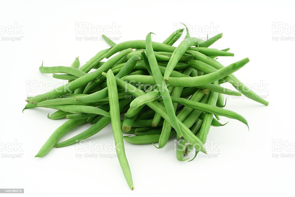 Portion of uncooked green French beans stock photo