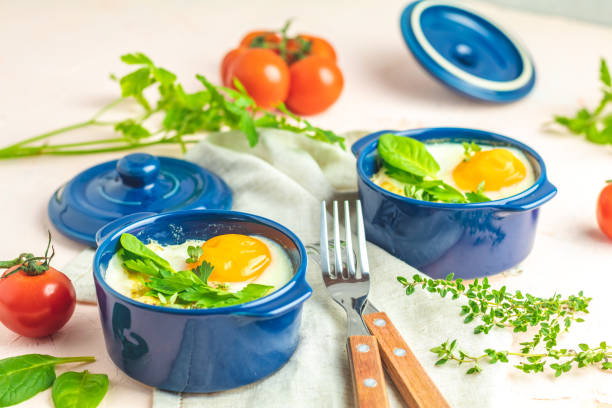 Portioned casserole from vegetables and eggs in Italian style stock photo