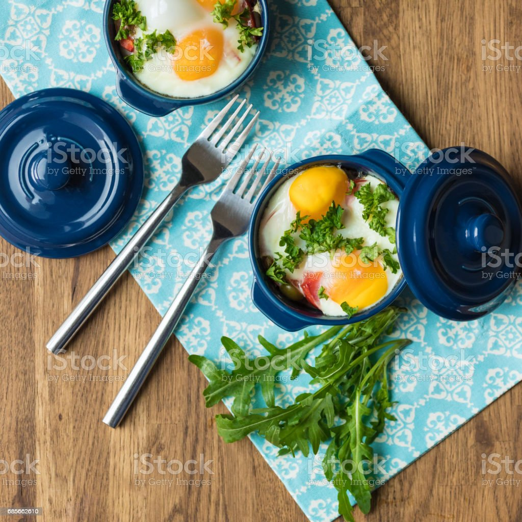 Portioned casserole from vegetables and eggs in Italian style. foto de stock royalty-free
