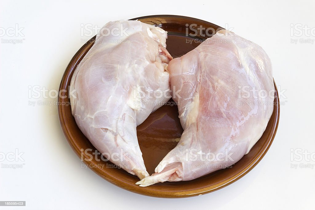Portions of raw rabbit meat stock photo