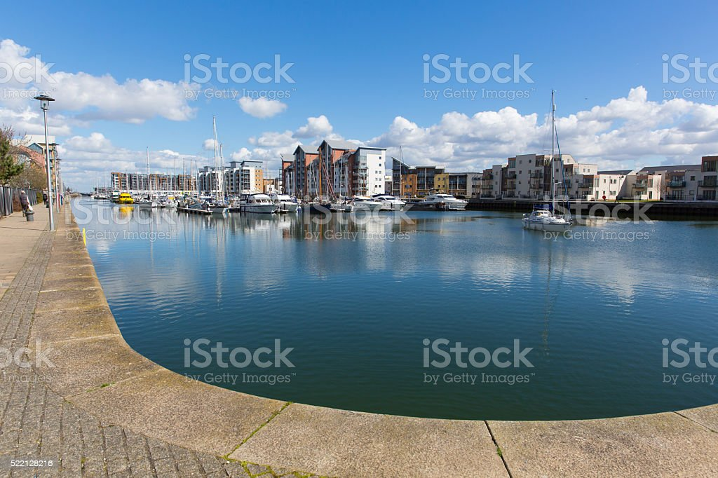 Portishead marina near Bristol Somerset England UK boats and apartments stock photo