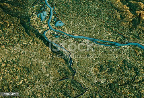 istock Portland 3D Landscape View South-North Natural Color 623434218
