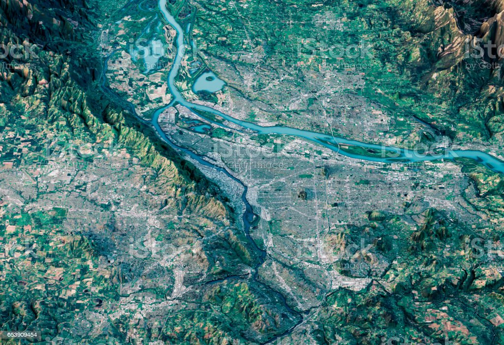Portland 3D Render Satellite View Topographic Map Horizontal stock photo