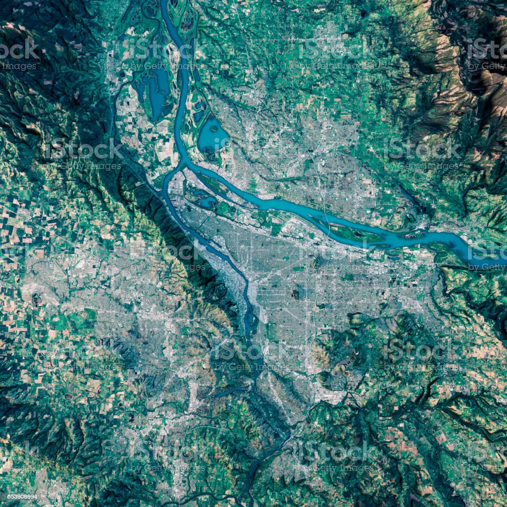 Portland 3d Render Satellite View Topographic Map Stock Photo More