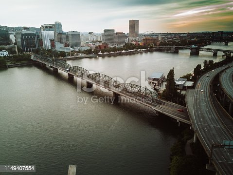 portland aerial view of the skyline