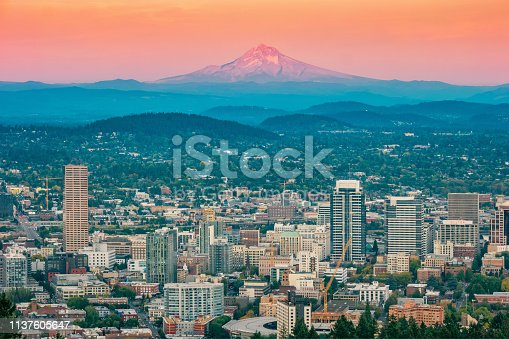 Stock photograph of  downtown Portland and Mt Hood in Oregon USA at sunset