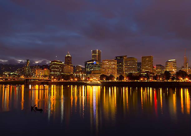 Portland at Night stock photo