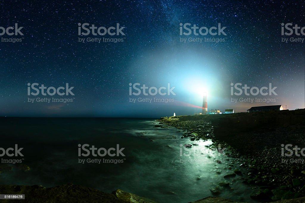 Portland Bill Lighthouse - Dorset Portland Bill Lighthouse under a starry night sky. Bill-of-Portland Stock Photo