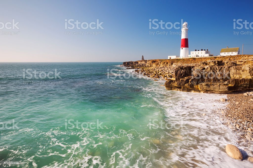 Portland Bill Lighthouse in Dorset, England on a sunny day stock photo