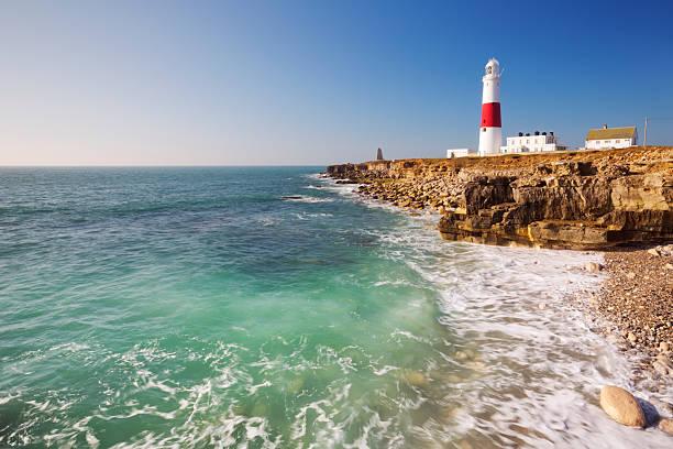 Portland Bill Lighthouse in Dorset, England on a sunny day stock photo