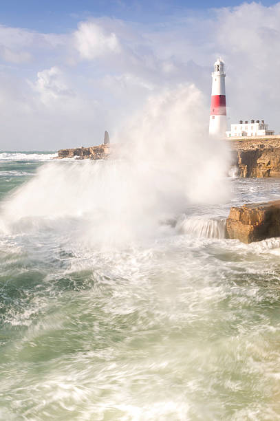 portland bill storms - pulpit rock dorset stock photos and pictures