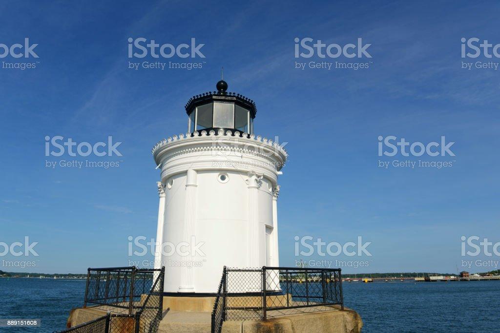 Portland Breakwater Lighthouse, Portland, ME, USA stock photo